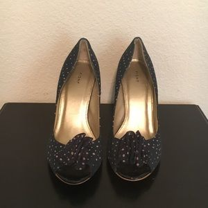 Shoes - 2 for $40 Navy and Pink Polka dotted High Heel
